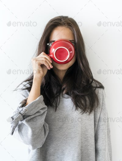 Woman enjoy morning coffee