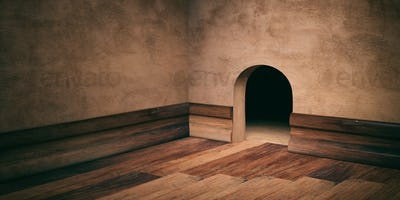 Mouse house hole on plastered wall, wooden floor and skirting, copy space. 3d illustration