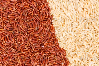 Brown and red rice as background, healthy gluten free food concept