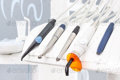 Dental instruments and tools used by dentists in stomatology office