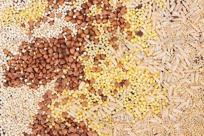 Mixed groats, amaranth, brown rice and quinoa seeds, healthy food concept