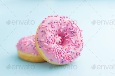 Two pink donuts.