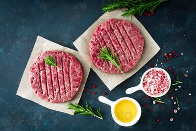 Fresh minced beef meat burgers
