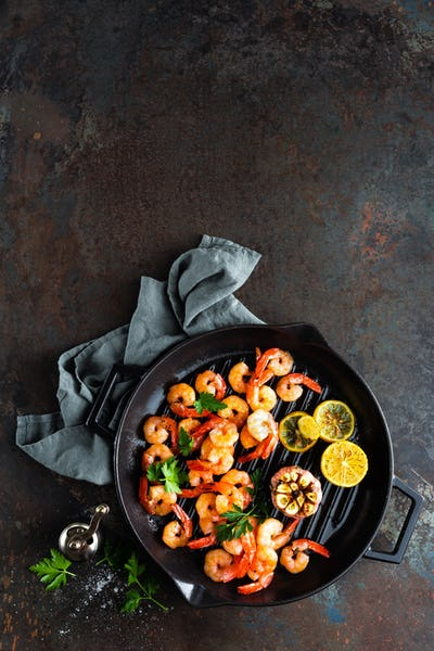 Prawns roasted on grill frying pan