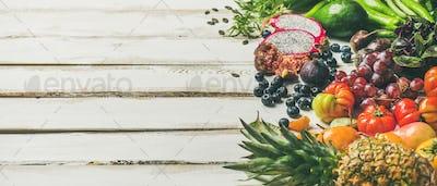 Helathy raw vegan food cooking background, copy space