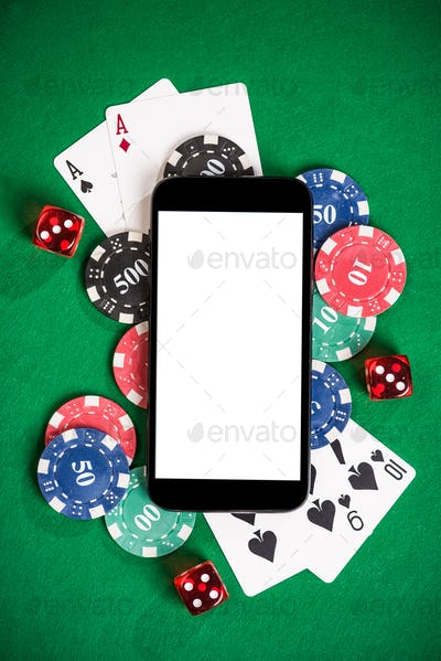 Gambling on mobile phone mock up