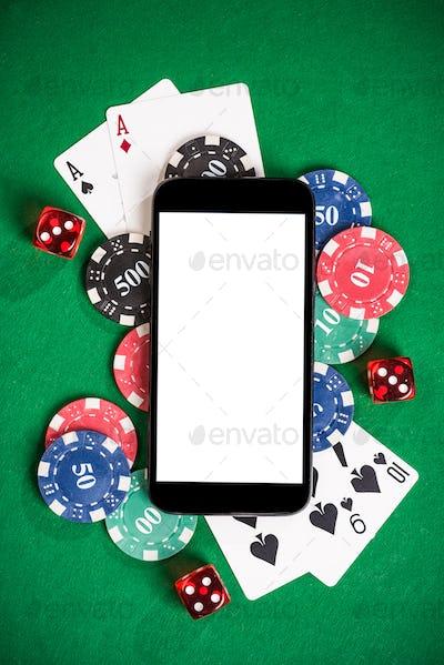 Gambling on mobile phone mock up