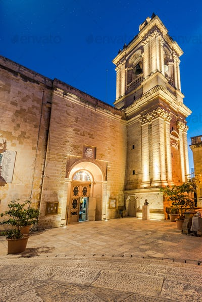 Illuminated St. Lawrence's Church in  Birgu,Malta
