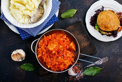fried cabbage and mashed potato