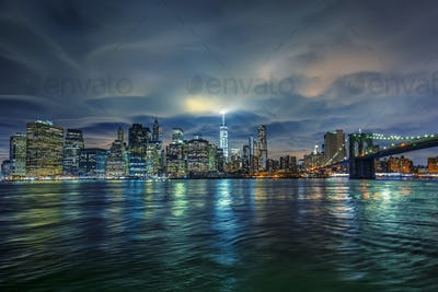 View of Manhattan with clouds