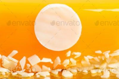 Closeup of glazed orange cake.