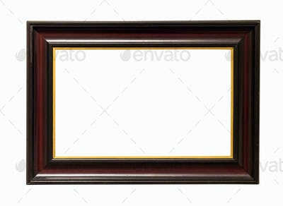 Dark wooden picture frame on white backround