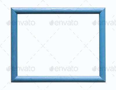Blue wooden photo frame on white background
