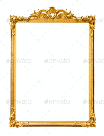 Golden decorative picture frame isolated on white