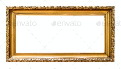 Rectangular golden decorative picture frame isolated on white