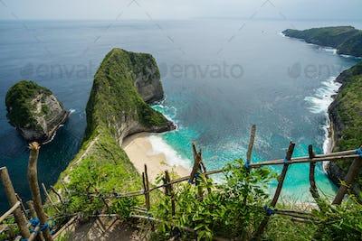 Kelingking Beach on Nusa Penida Island in Bali