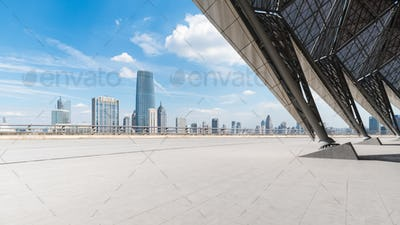 empty square floor front with cityscape of tianjin skyline