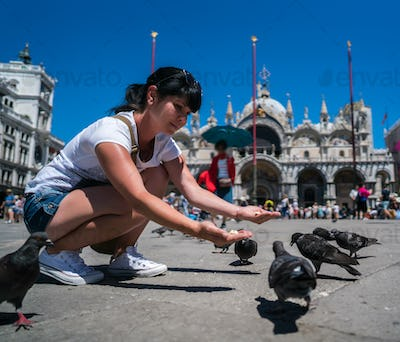 Woman tourist feeding pigeons in the square - St. Marks Square -