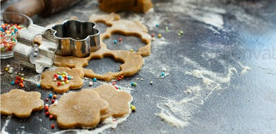 Cooking cookies with flower cookie cutters
