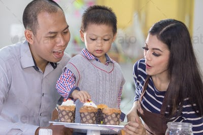Cooking time with family concept