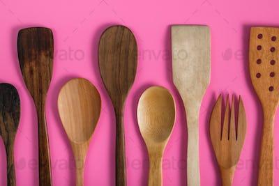different wooden kitchen utensils