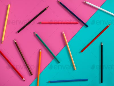 abstract color pencil mockup for design