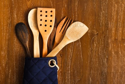 different wooden kitchen tools