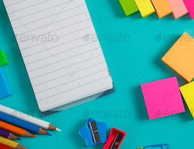 colorful stationary set with blank notes
