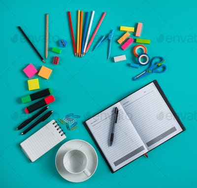 group of colorful office tools