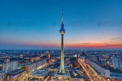 The Berlin skyline after sunset