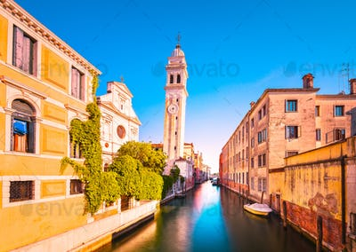 Venice sunset in San Giorgio dei Greci water canal and church ca