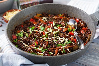Black lentil beluga with vegetables. Lenten menu. Vegan food.