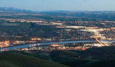 Aerial View Lewiston Idaho Bridge Bend Clearwater River Sunset