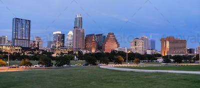 Butler Metro Park Grounds Night Dusk Downtown City Skyline Austin TX