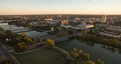 Over Waco Texas Downtown City Skyline Disk Bridges Over Brazos River