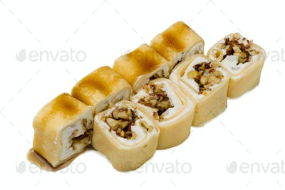Japanese food. Sushi rolls on a white background