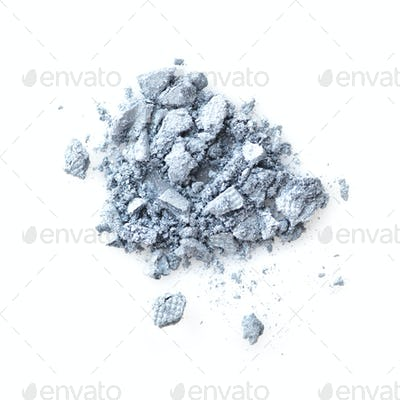 Eye shadow crushed samples isolated on white background. Top vie