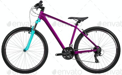 New blue bicycle isolated on white
