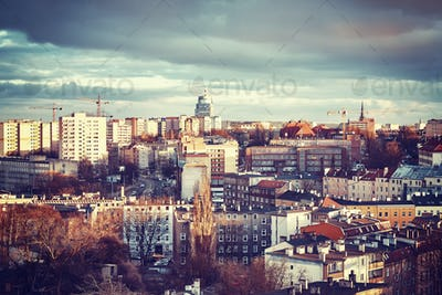 Szczecin City at sunset, Poland.