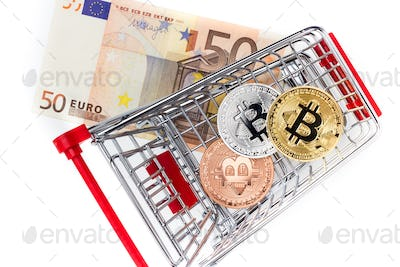 Image of bitcoins in shopping cart on euro bill