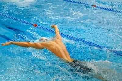 back male athlete swim butterfly