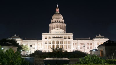 Over Night Grounds Landscape Texas State Capital Building Austin