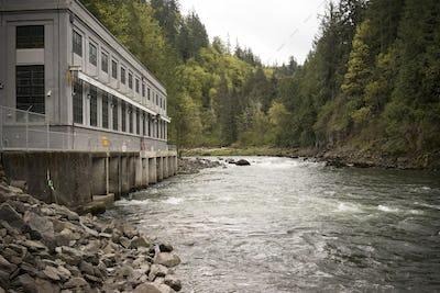 River Waterfall Powerhouse Power Generation Water Flow