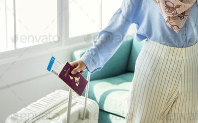 Islamic woman preparing to travel