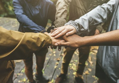 Hands join outdoor together