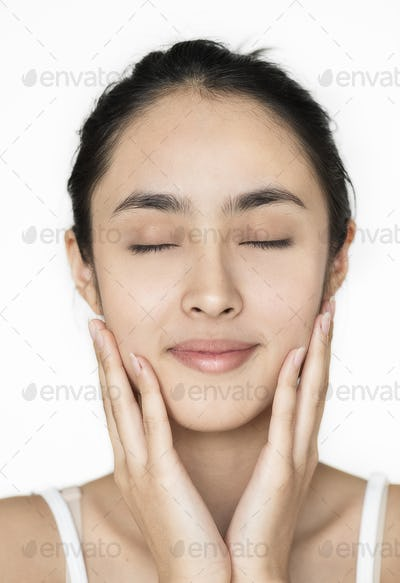 Young Asian girl portrait isolated skincare concept