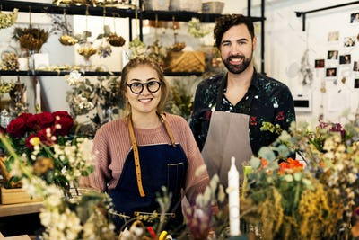 Flower shop small business owners