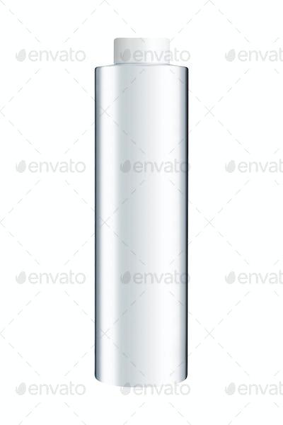 White plastic bottle on a white background