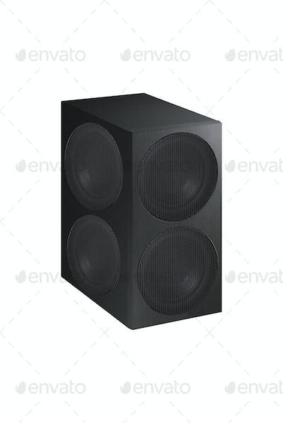 Audio speaker on white background