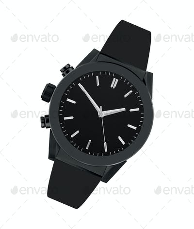Black steel watch isolated